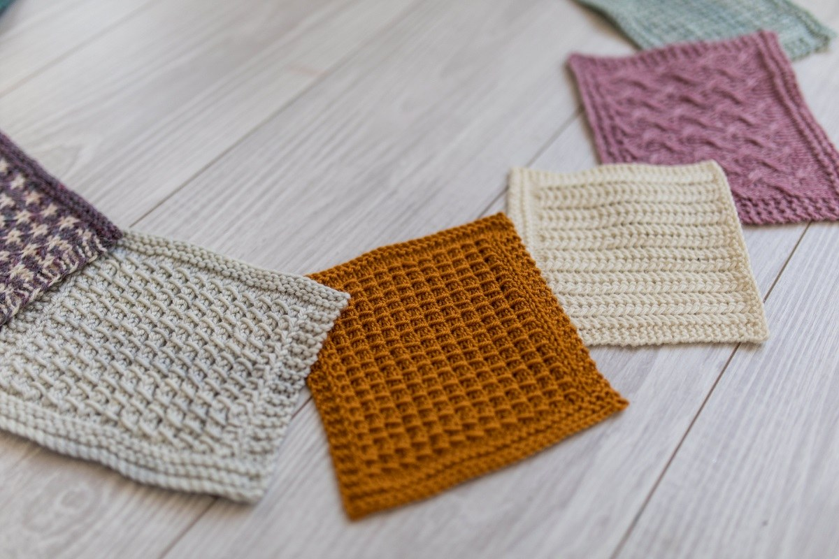 Squares of knit fabric arranged in a circle