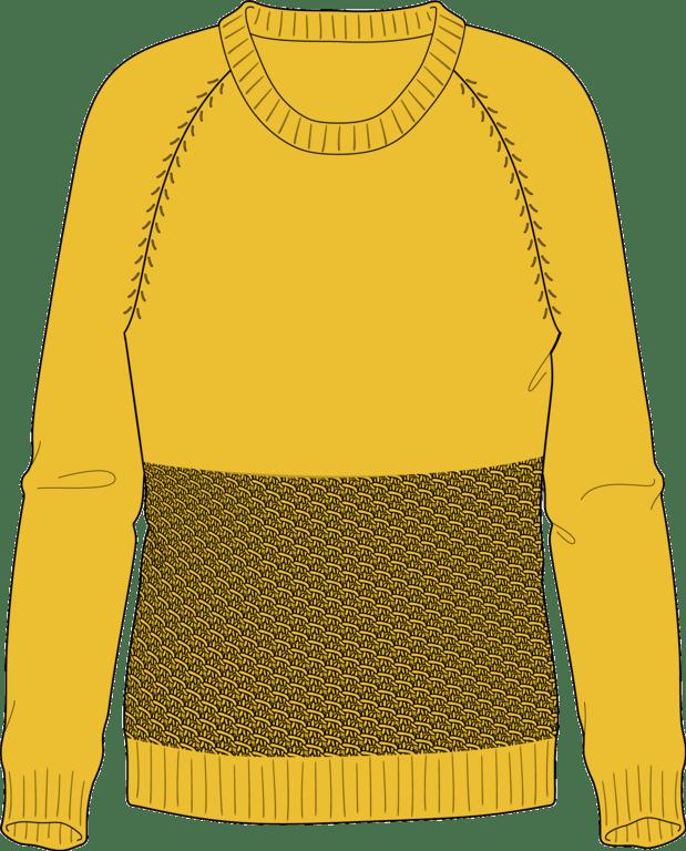 Bellish yellow spine stitch raglan sweater illustration