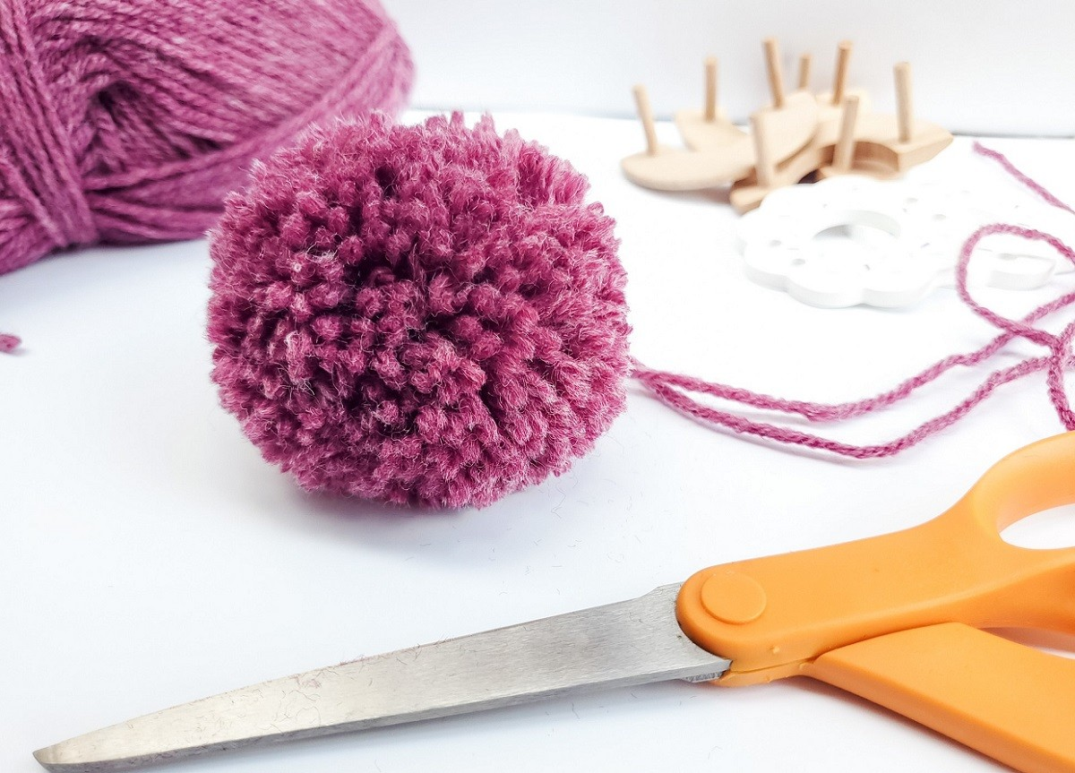 Woolen Pom Pom on desk
