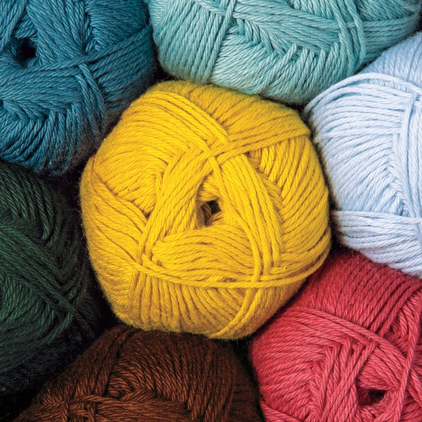 Cotton blend fingering weight 75% Pima Cotton, 25% Acrylic.