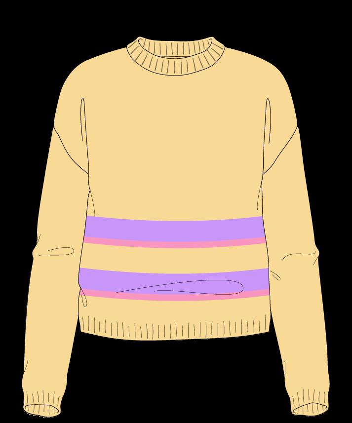 Regular fit Cropped body Crew neck Long sleeve Uneven stripes Plain Plain dropshoulder worsted 54