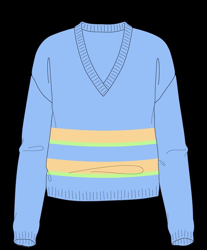 Regular fit Cropped body V-neck Long sleeve Uneven stripes Plain Plain dropshoulder dk 50