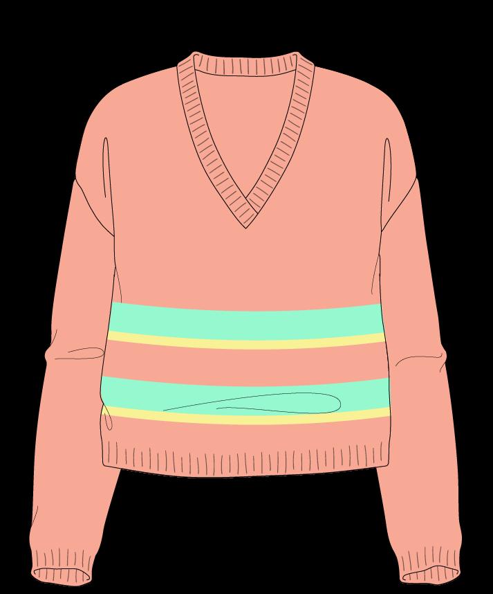 Relaxed fit Cropped body V-neck Long sleeve Uneven stripes Plain Plain dropshoulder dk 38