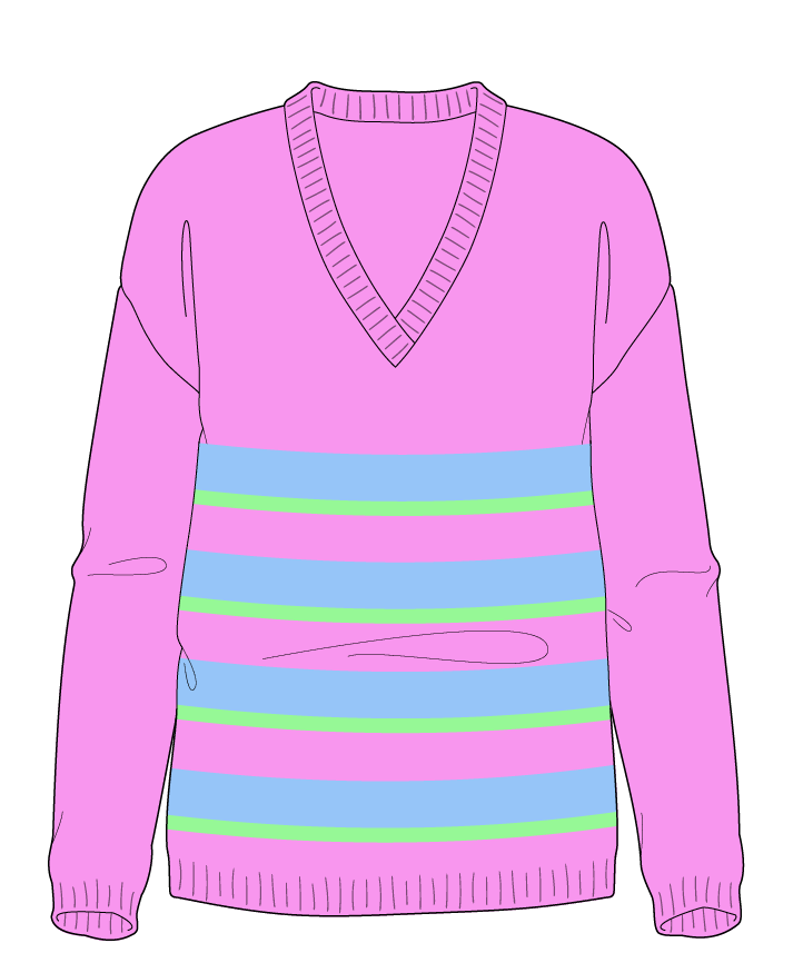 Regular fit Full length body V-neck Long sleeve Uneven stripes Plain Plain dropshoulder worsted 42