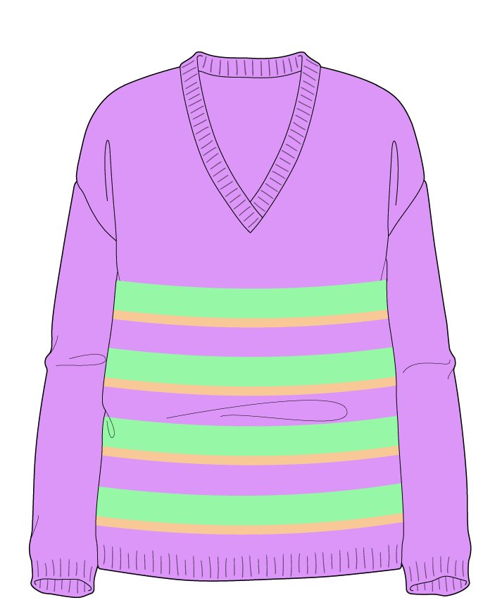 Relaxed fit Full length body V-neck Long sleeve Uneven stripes Plain Plain dropshoulder worsted 42