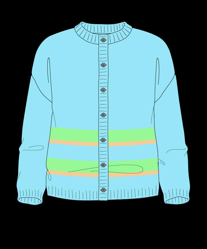 Regular fit Cropped body Crew neck Three quarter sleeve Uneven stripes Plain Plain dropshoulder-cardigan dk 50
