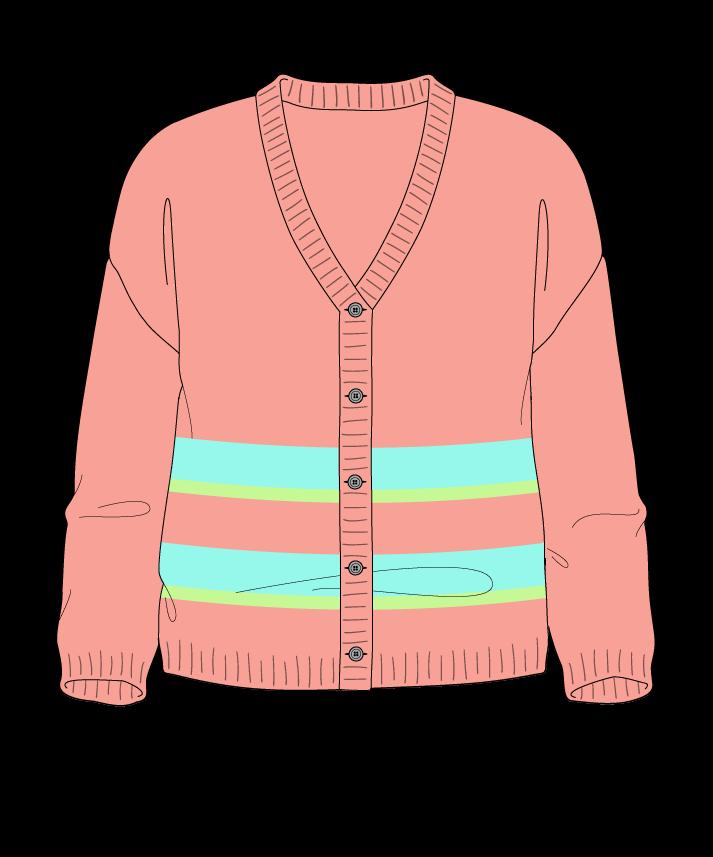Regular fit Cropped body V-neck Three quarter sleeve Uneven stripes Plain Plain dropshoulder-cardigan dk 34