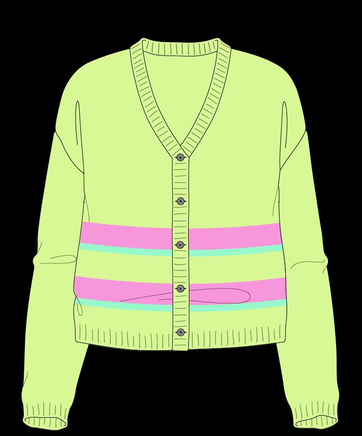 Relaxed fit Cropped body V-neck Long sleeve Uneven stripes Plain Plain dropshoulder-cardigan dk 34
