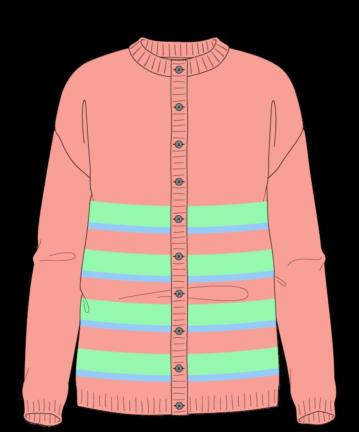 Regular fit Full length body Crew neck Long sleeve Uneven stripes Plain Plain dropshoulder-cardigan dk 34