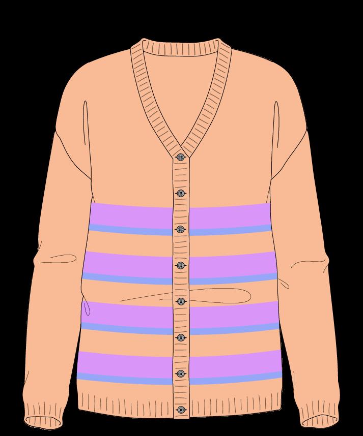 Regular fit Full length body V-neck Long sleeve Uneven stripes Plain Plain dropshoulder-cardigan dk 38