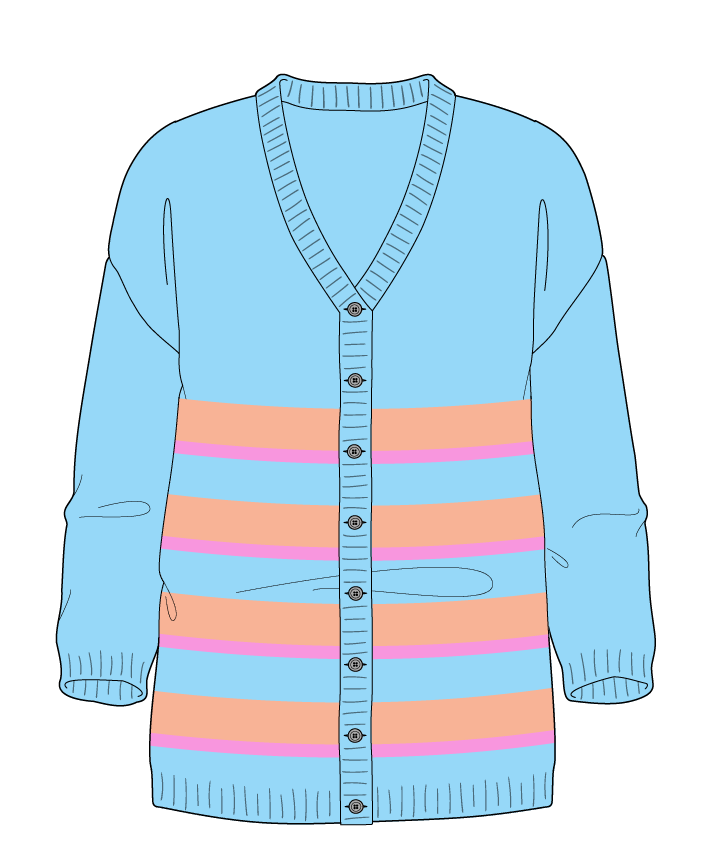 Regular fit Full length body V-neck Three quarter sleeve Uneven stripes Plain Plain dropshoulder-cardigan worsted 38