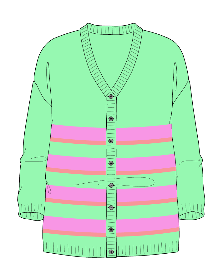 Relaxed fit Full length body V-neck Three quarter sleeve Uneven stripes Plain Plain dropshoulder-cardigan dk 38