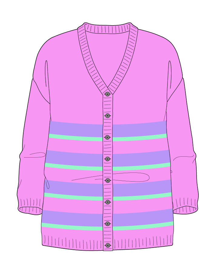 Relaxed fit Full length body V-neck Three quarter sleeve Uneven stripes Plain Plain dropshoulder-cardigan worsted 54