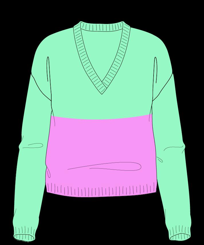 Regular fit Cropped body V-neck Long sleeve Colorblock 1 Plain Plain dropshoulder worsted 42