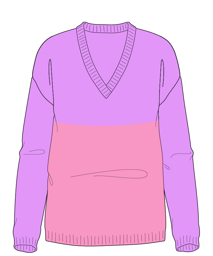 Regular fit Full length body V-neck Long sleeve Colorblock 1 Plain Plain dropshoulder worsted 34
