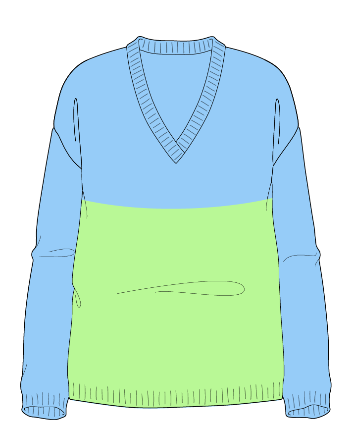 Relaxed fit Full length body V-neck Long sleeve Colorblock 1 Plain Plain dropshoulder worsted 50