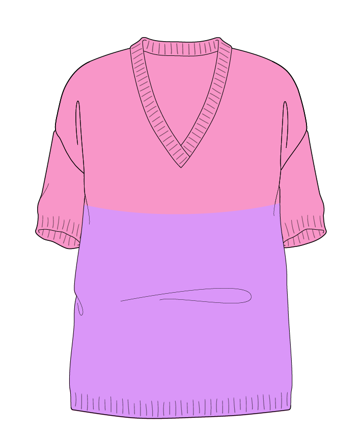 Relaxed fit Full length body V-neck Short sleeve Colorblock 1 Plain Plain dropshoulder worsted 54