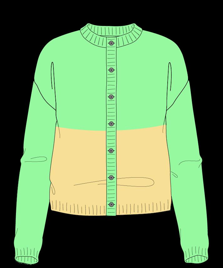 Regular fit Cropped body Crew neck Long sleeve Colorblock 1 Plain Plain dropshoulder-cardigan sport 34