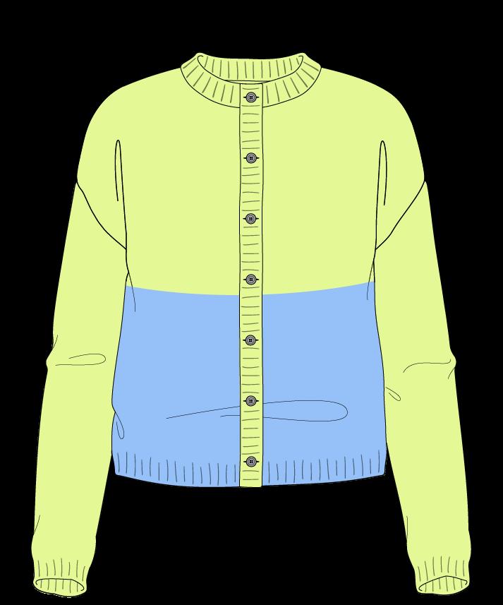 Regular fit Cropped body Crew neck Long sleeve Colorblock 1 Plain Plain dropshoulder-cardigan worsted 50