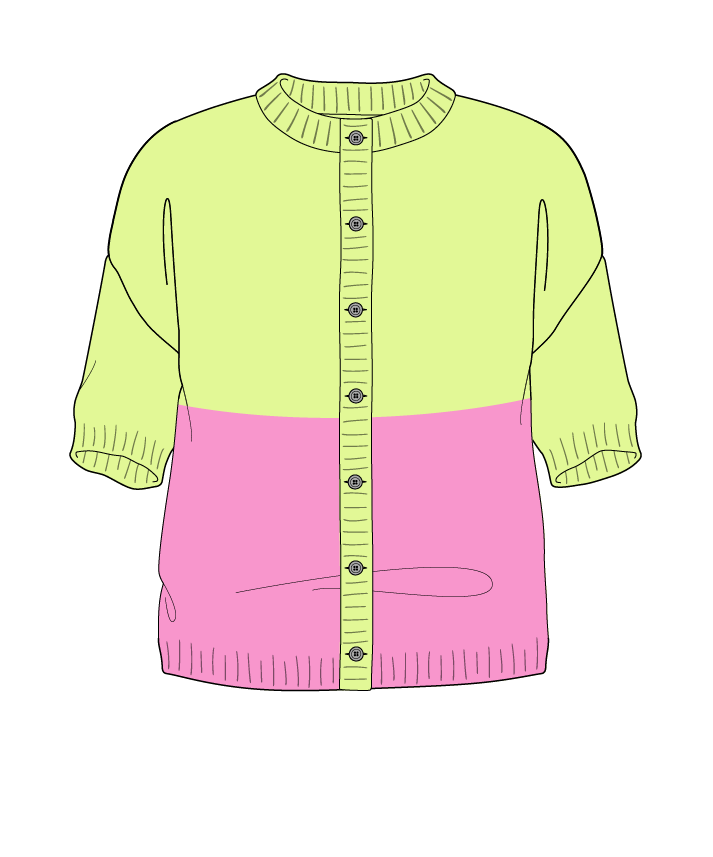 Regular fit Cropped body Crew neck Short sleeve Colorblock 1 Plain Plain dropshoulder-cardigan sport 50