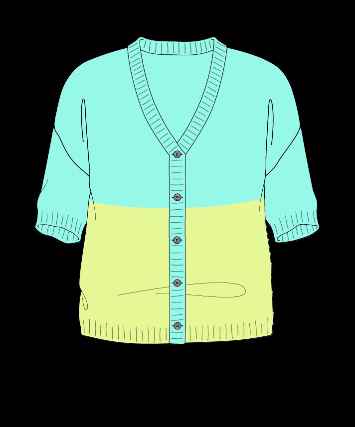 Regular fit Cropped body V-neck Short sleeve Colorblock 1 Plain Plain dropshoulder-cardigan sport 54