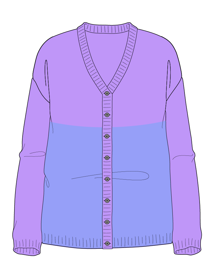 Relaxed fit Full length body V-neck Long sleeve Colorblock 1 Plain Plain dropshoulder-cardigan worsted 42