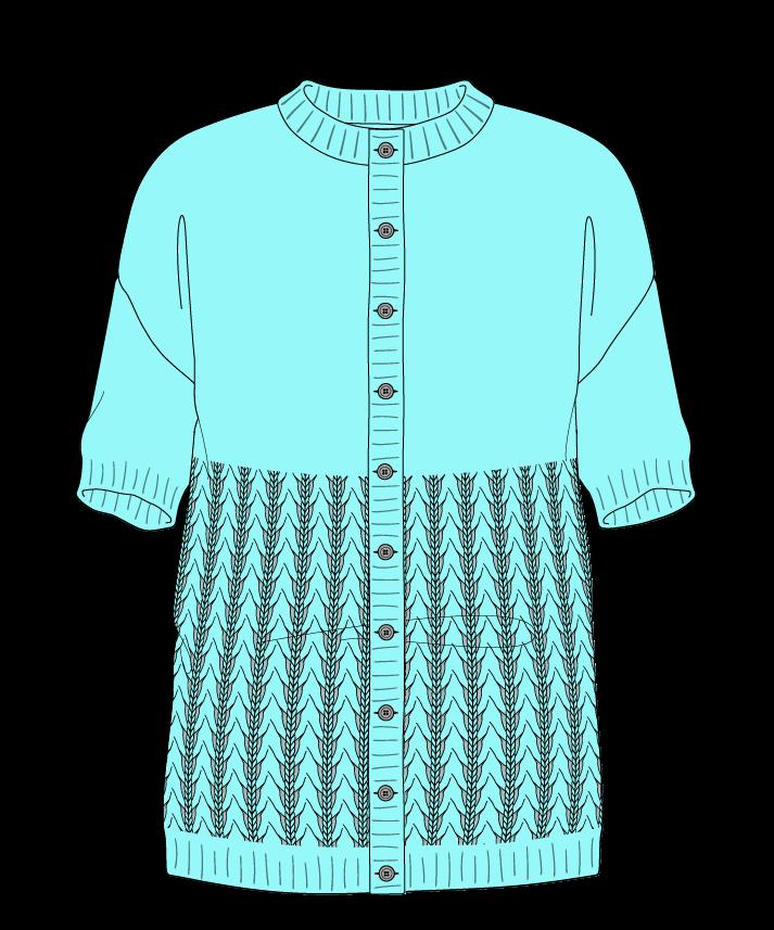 Regular fit Full length body Crew neck Short sleeve Little fountain lace Plain Plain dropshoulder-cardigan sport 46