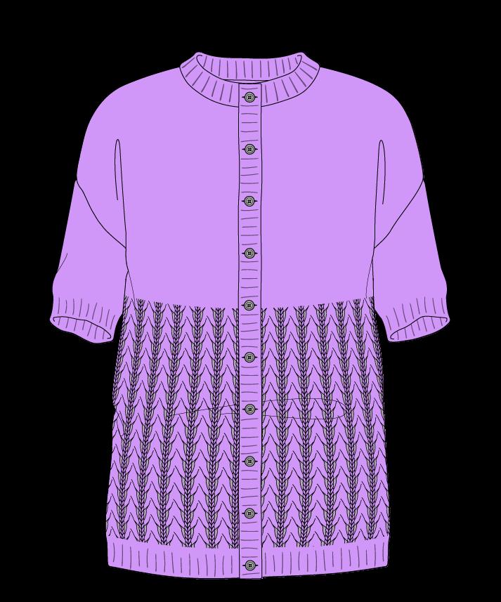 Regular fit Full length body Crew neck Short sleeve Little fountain lace Plain Plain dropshoulder-cardigan worsted 30