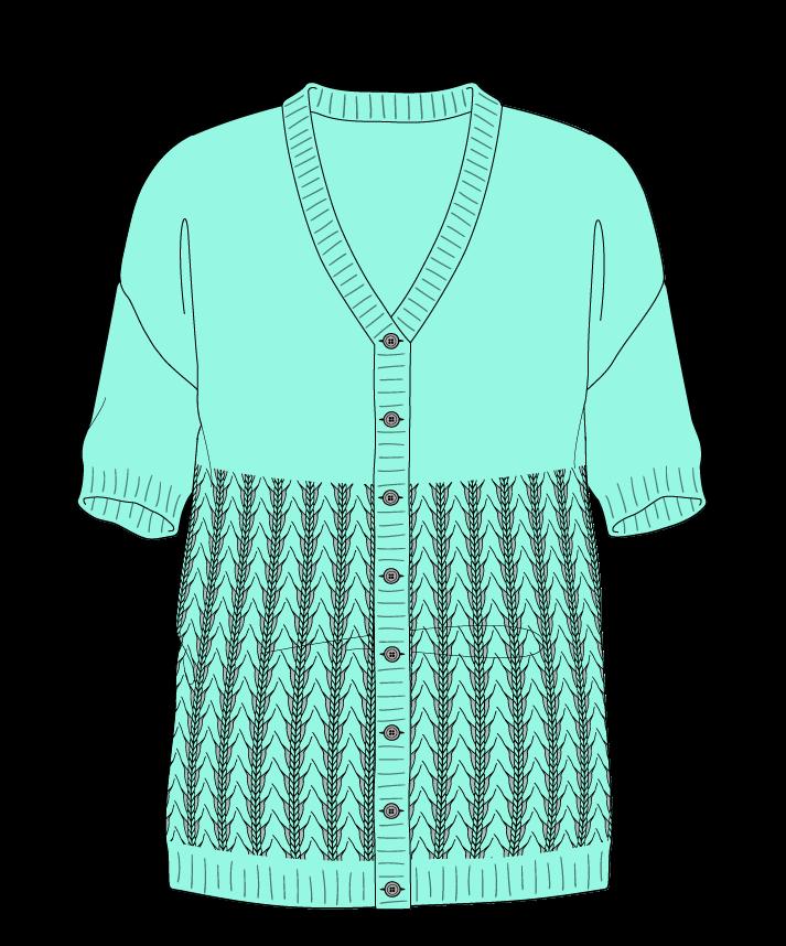 Regular fit Full length body V-neck Short sleeve Little fountain lace Plain Plain dropshoulder-cardigan worsted 54