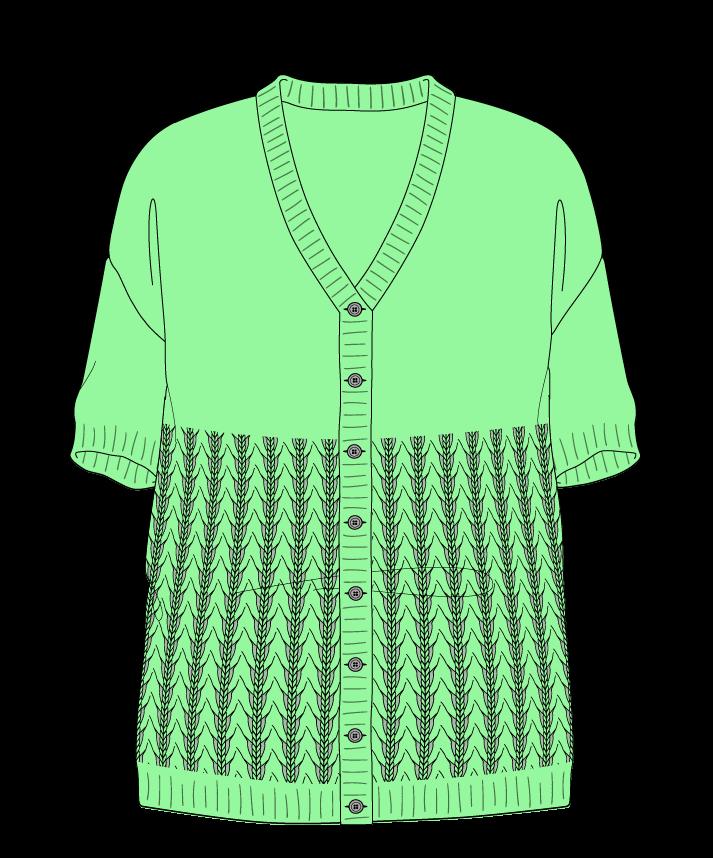 Relaxed fit Full length body V-neck Short sleeve Little fountain lace Plain Plain dropshoulder-cardigan sport 34