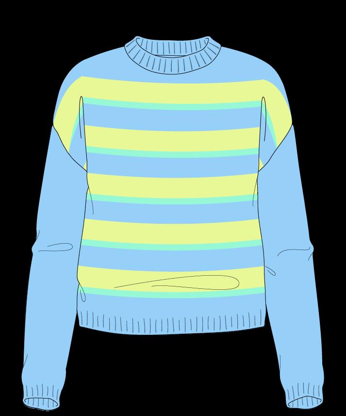 Regular fit Cropped body Crew neck Long sleeve Uneven stripes Uneven stripes Plain dropshoulder sport 30