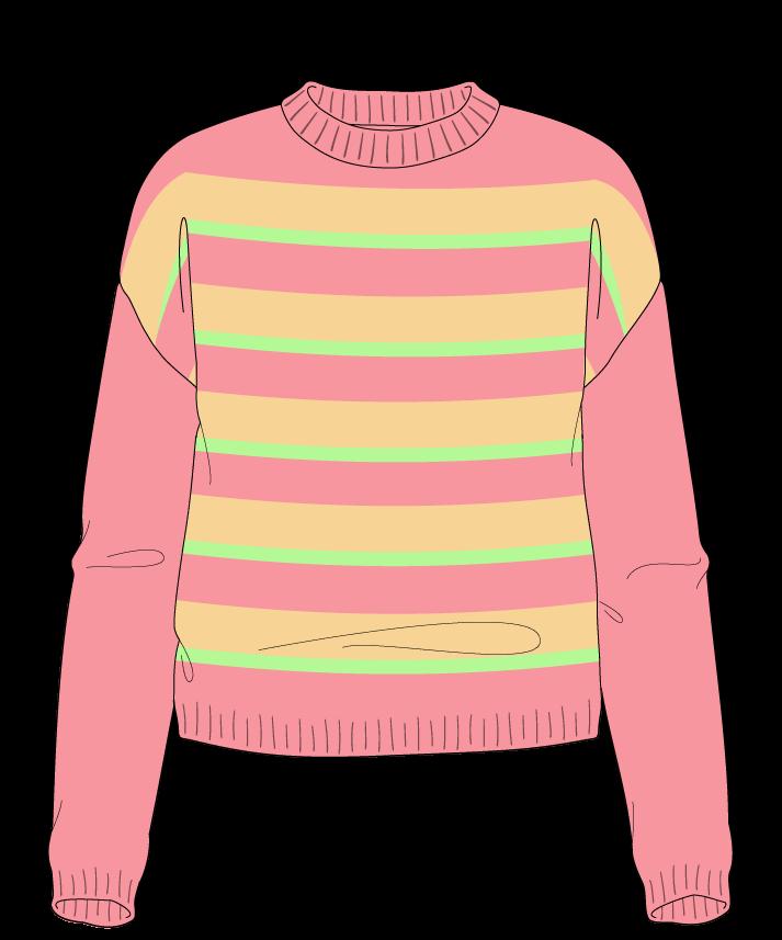 Regular fit Cropped body Crew neck Long sleeve Uneven stripes Uneven stripes Plain dropshoulder worsted 42