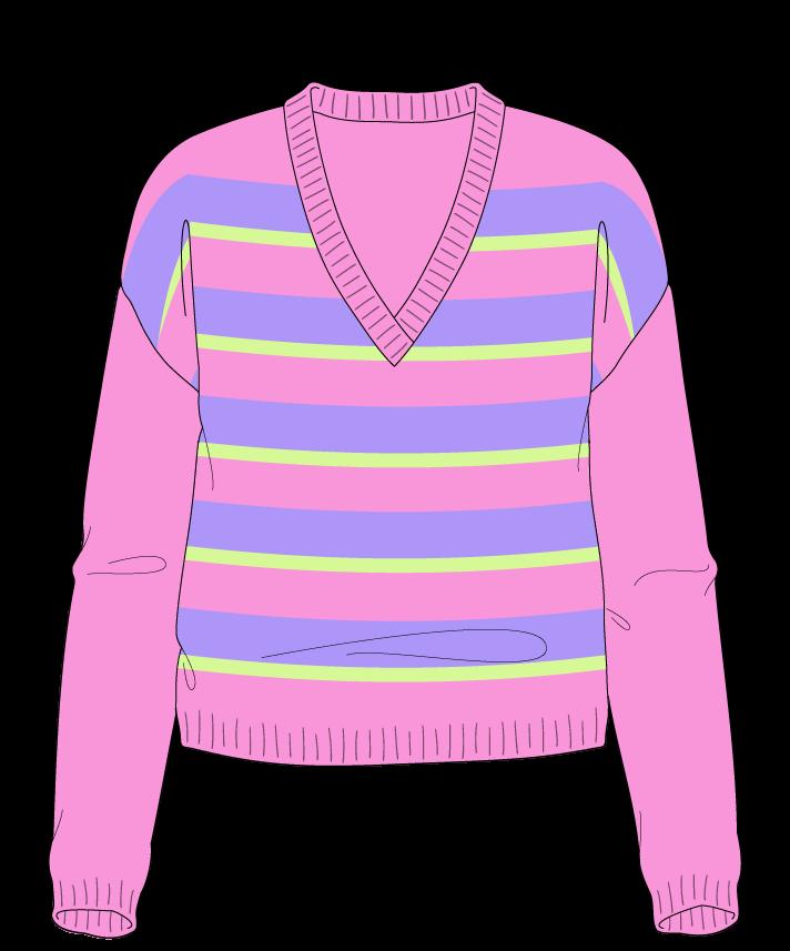Regular fit Cropped body V-neck Long sleeve Uneven stripes Uneven stripes Plain dropshoulder worsted 54