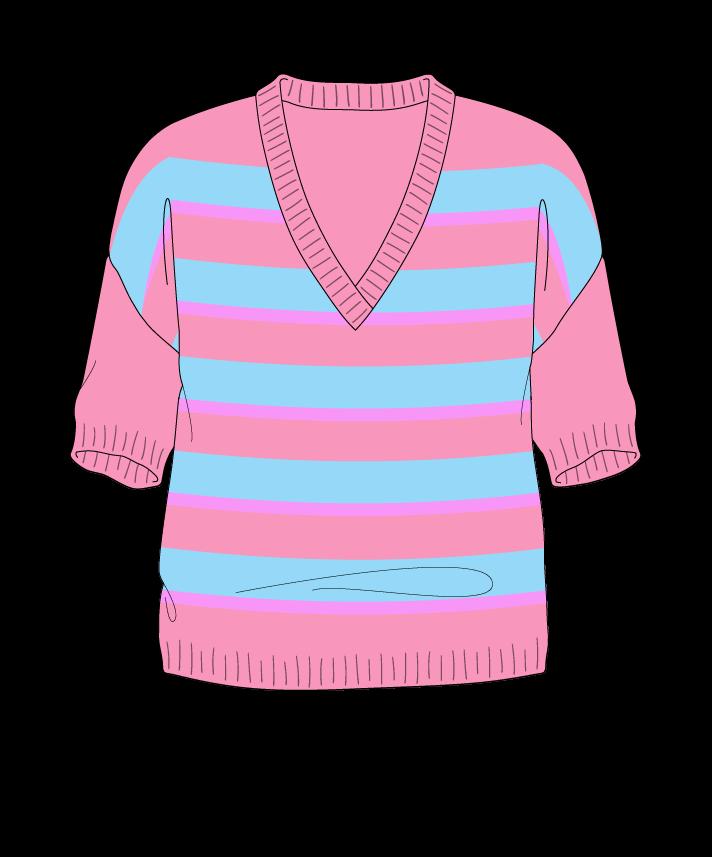 Regular fit Cropped body V-neck Short sleeve Uneven stripes Uneven stripes Plain dropshoulder worsted 54