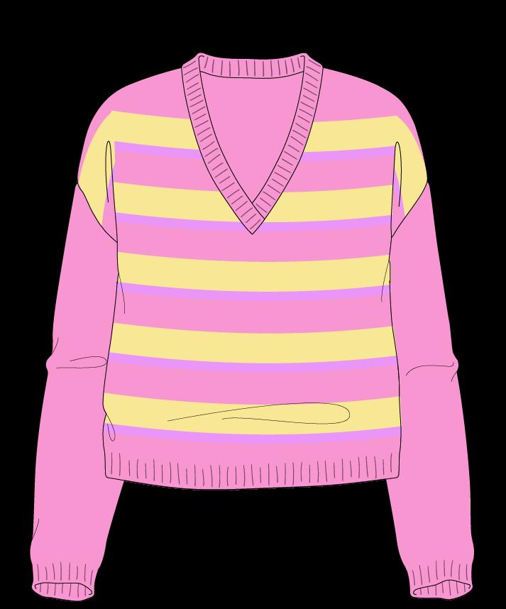 Relaxed fit Cropped body V-neck Long sleeve Uneven stripes Uneven stripes Plain dropshoulder sport 30