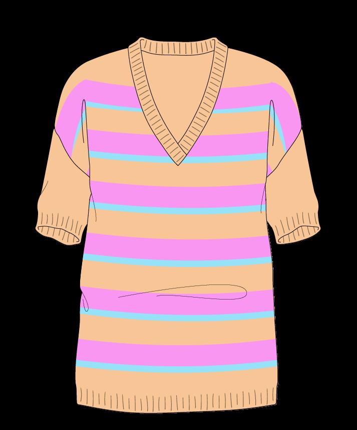 Regular fit Full length body V-neck Short sleeve Uneven stripes Uneven stripes Plain dropshoulder worsted 46