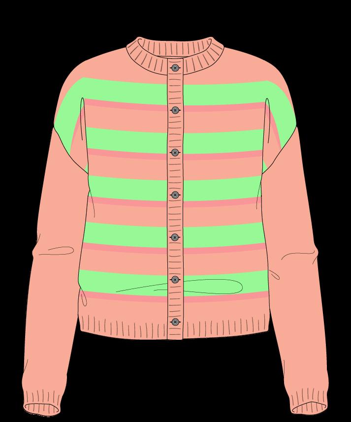 Regular fit Cropped body Crew neck Long sleeve Uneven stripes Uneven stripes Plain dropshoulder-cardigan sport 50