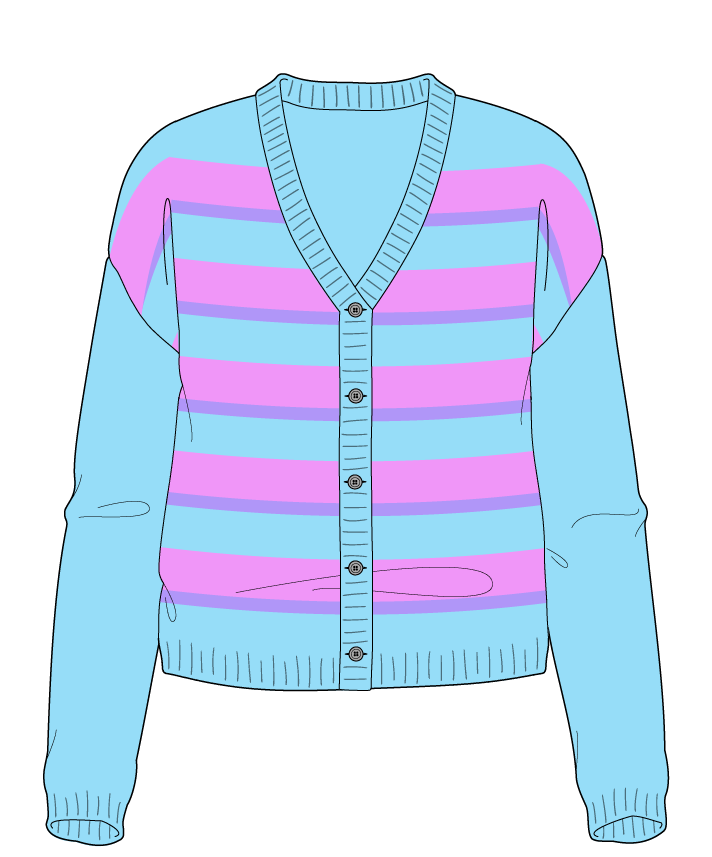 Regular fit Cropped body V-neck Long sleeve Uneven stripes Uneven stripes Plain dropshoulder-cardigan worsted 34