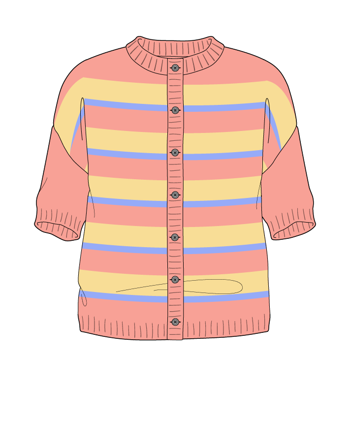 Regular fit Cropped body Crew neck Short sleeve Uneven stripes Uneven stripes Plain dropshoulder-cardigan worsted 50