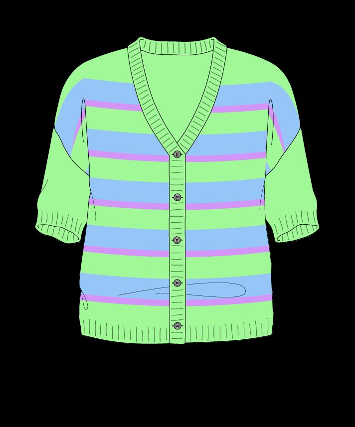 Regular fit Cropped body V-neck Short sleeve Uneven stripes Uneven stripes Plain dropshoulder-cardigan worsted 46