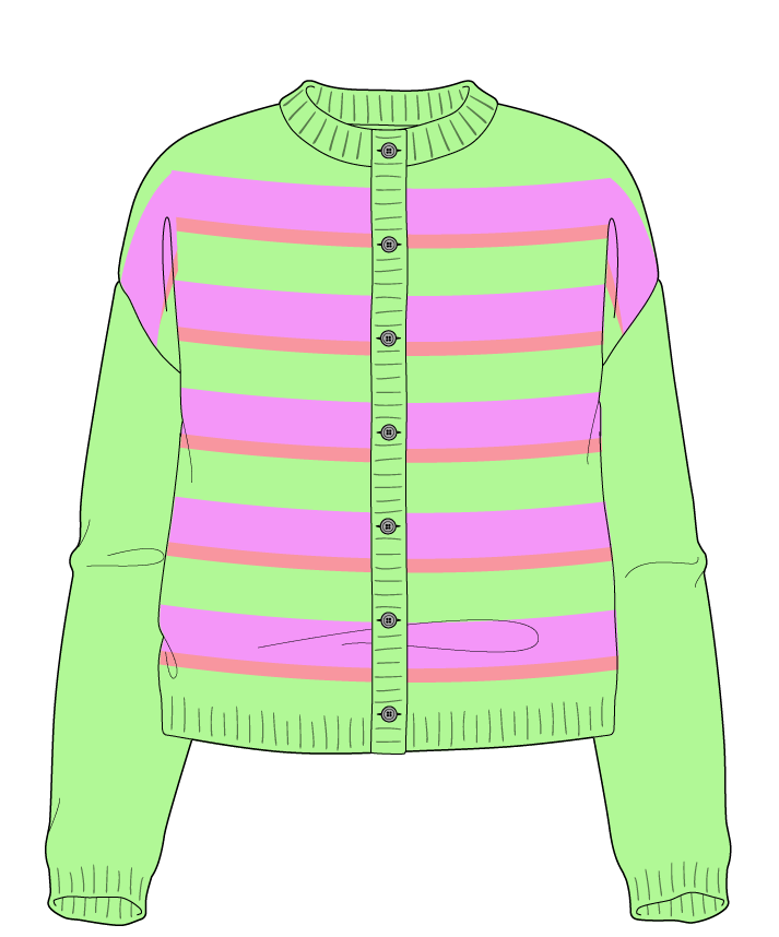 Relaxed fit Cropped body Crew neck Long sleeve Uneven stripes Uneven stripes Plain dropshoulder-cardigan sport 42