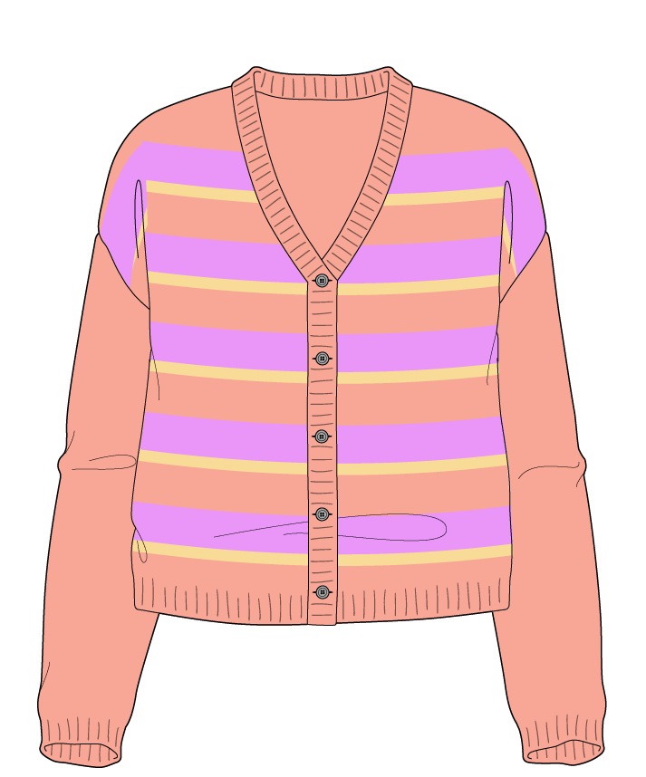 Relaxed fit Cropped body V-neck Long sleeve Uneven stripes Uneven stripes Plain dropshoulder-cardigan sport 30