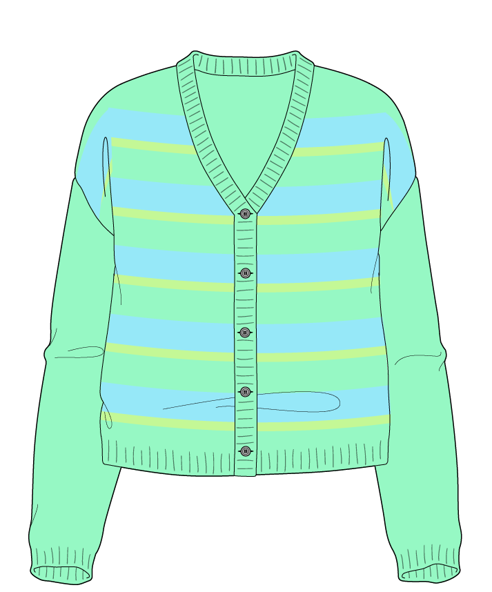 Relaxed fit Cropped body V-neck Long sleeve Uneven stripes Uneven stripes Plain dropshoulder-cardigan worsted 42