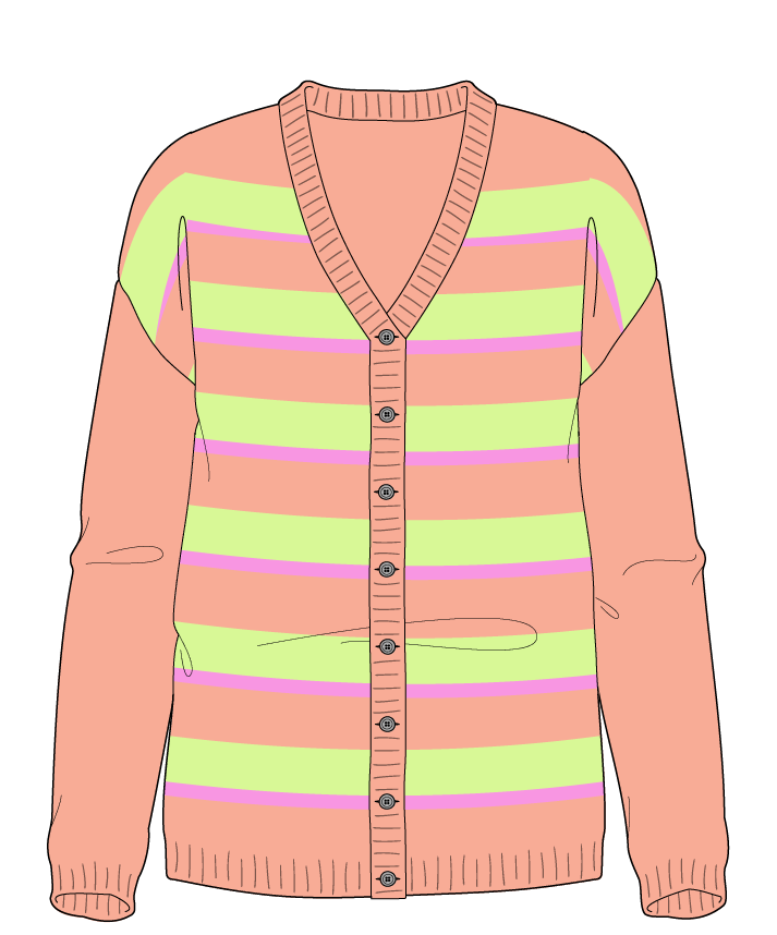Regular fit Full length body V-neck Long sleeve Uneven stripes Uneven stripes Plain dropshoulder-cardigan worsted 50