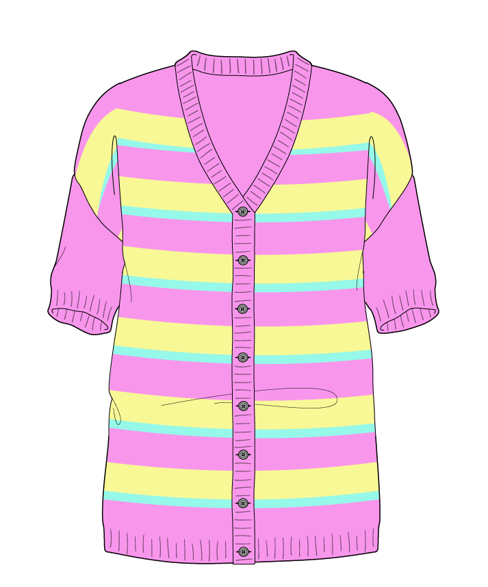 Regular fit Full length body V-neck Short sleeve Uneven stripes Uneven stripes Plain dropshoulder-cardigan sport 38