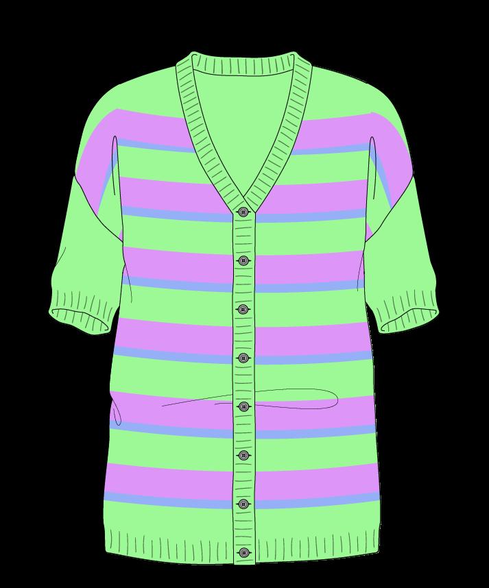 Regular fit Full length body V-neck Short sleeve Uneven stripes Uneven stripes Plain dropshoulder-cardigan worsted 30