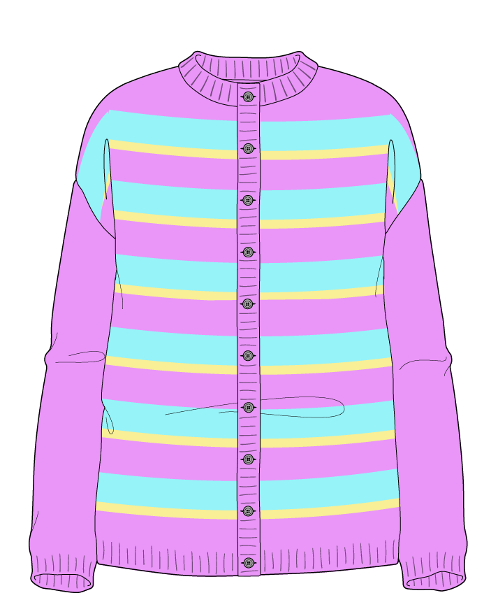 Relaxed fit Full length body Crew neck Long sleeve Uneven stripes Uneven stripes Plain dropshoulder-cardigan sport 38