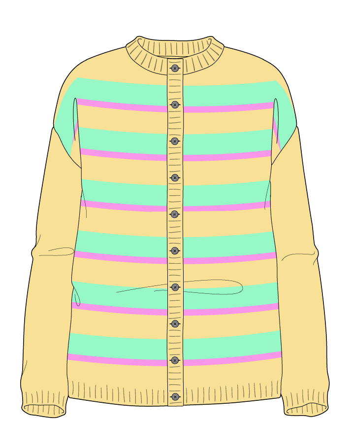 Relaxed fit Full length body Crew neck Long sleeve Uneven stripes Uneven stripes Plain dropshoulder-cardigan worsted 42