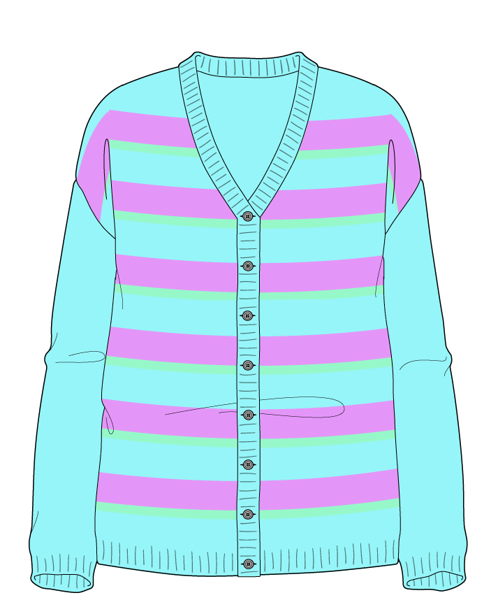 Relaxed fit Full length body V-neck Long sleeve Uneven stripes Uneven stripes Plain dropshoulder-cardigan sport 38