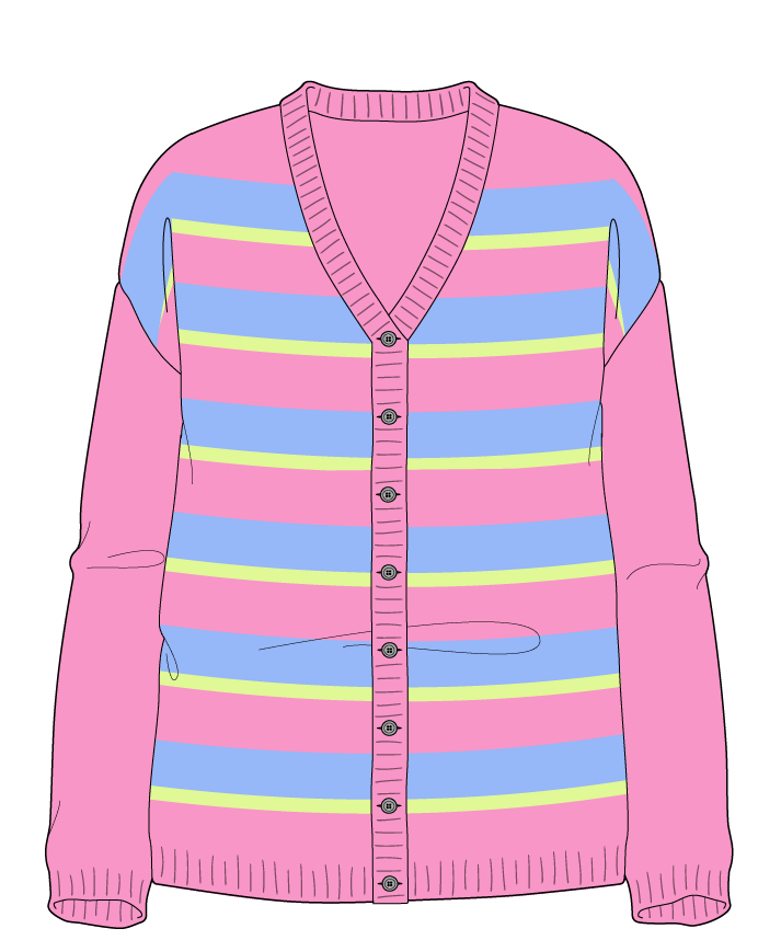Relaxed fit Full length body V-neck Long sleeve Uneven stripes Uneven stripes Plain dropshoulder-cardigan worsted 38